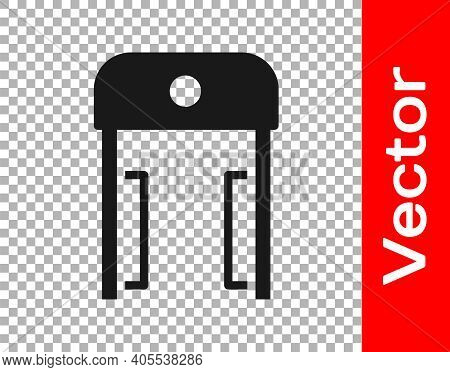 Black Metal Detector In Airport Icon Isolated On Transparent Background. Airport Security Guard On M