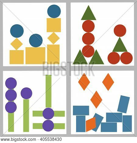 Set Of Four Vector Compositions Of Bright Contrasting Geometric Shapes