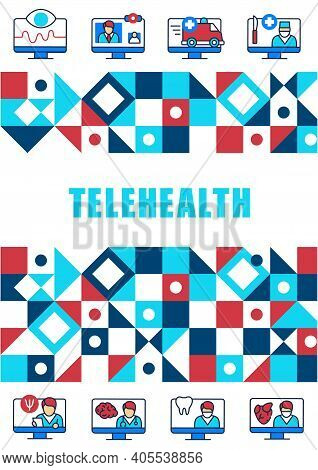 Telemedicine Brochure. Virtual Medical Consultation. Telehealth Medical Cover Design And Flyer Layou