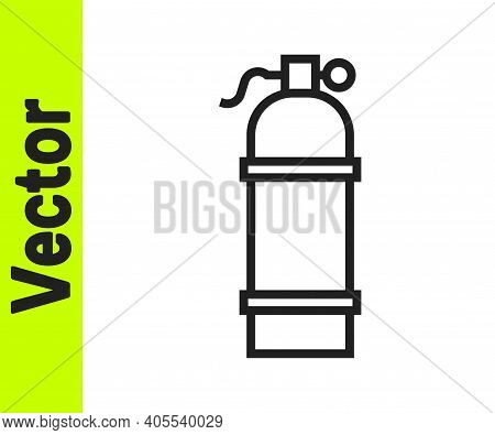 Black Line Aqualung Icon Isolated On White Background. Oxygen Tank For Diver. Diving Equipment. Extr
