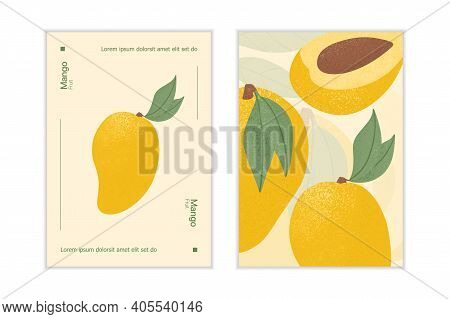 Ripe Mango With Leaves Card Template. Sweet Mango Fruits Vector Hand Drawn Poster Design.