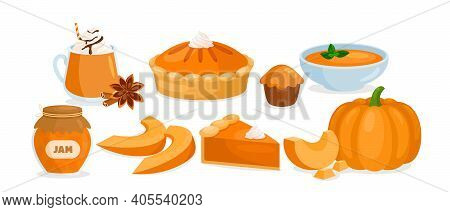 Pumpkin Food Menu. Cartoon Raw And Cooked Pumpkin Dishes Collection With Vegetable Slices And Soup,
