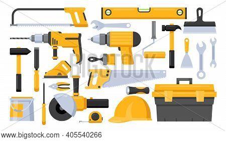 Repair Worker Tools Vector Illustration Set. Cartoon Yellow Hand Instrument Equipment For Work On Co