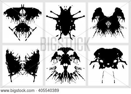 Ink Blot For Psychiatric Evaluations. Rorschach Test. Vector Set Of Grunge Abstract Black Spots