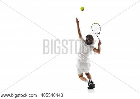 Speed. Young Caucasian Professional Sportsman Playing Tennis Isolated On White Background. Training,