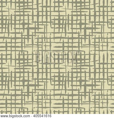 Light Beige Canvas Burlap Texture, Seamless Checkered Pattern. Linen Fabric Textile. Cloth Linen Sac