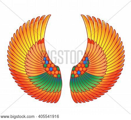 Wings In Egyptian Style. Hand-drawn Vintage Tattoo Art. Egypt Tribal Symbol Of Pharaoh, Element Of A