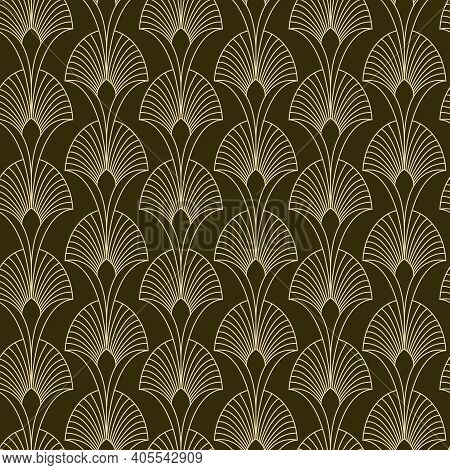 Seamless Golden Floral Art Deco Art Nouveau Pattern With Geometric Overlapping Decorative Leaves, Ar
