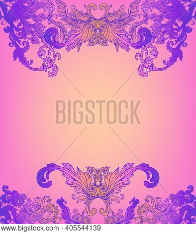 Vintage Baroque Floral Patterned Frame In Bright Neon Colors. 1980s Style. Ornate Vector Decoration.