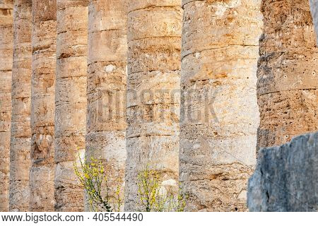 Columns Of The Doric Temple Of Segesta In Warm Evening Light, Sicily, Italy