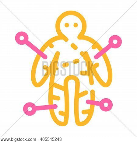 Voodoo Doll Color Icon Vector Illustration Flat