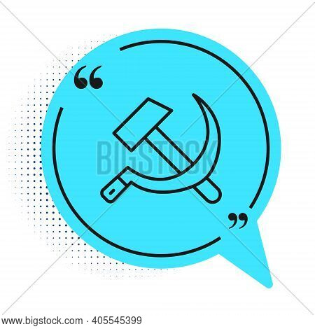 Black Line Hammer And Sickle Ussr Icon Isolated On White Background. Symbol Soviet Union. Blue Speec