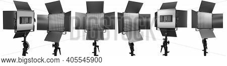 Photography Studio Led Flash Light On A Stand Isolated On White With Curtain.