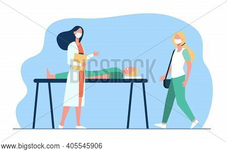 Professional Medical Specialists Helping Man On Bed. Doctor, Patient, Aid Flat Vector Illustration.