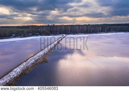 Breeding Ponds In Winter, Located In Forest Areas, Seen From A Great Height From A Drone.\nwinter Ev