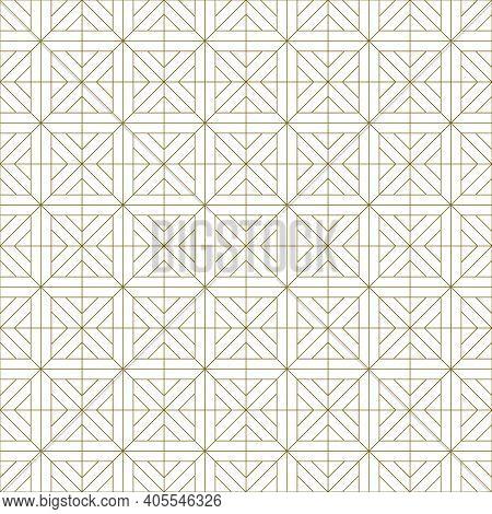 Japanese Seamless Kumiko Pattern In Brown Fine Lines.