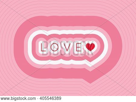Valentine's Day, Wedding Background. Word Love And Heart Shape On Pink Background. For Card, Backgro