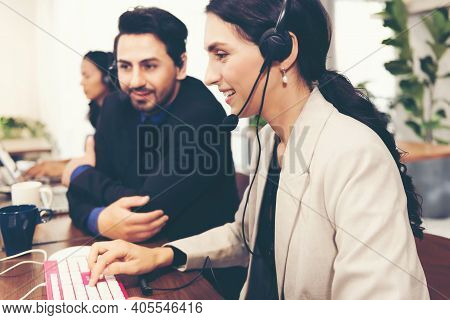 Select Foucs. Call Center And Customer Service Team Support For Information Operator At Work. Peopl