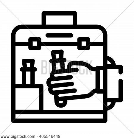 Vacuum Chamber For Work With Vaccine Line Icon Vector Illustration