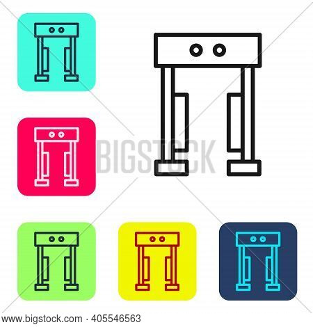 Black Line Metal Detector Icon Isolated On White Background. Airport Security Guard On Metal Detecto