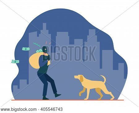 Dog Catching Thef With Money Bag. Crime, Criminal, Pet Flat Vector Illustration. Burglary And Protec