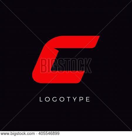 Speed Letter C. Red Race Monogram Logo. Italic Bold Racing Style Vector Latin Character. Letter For