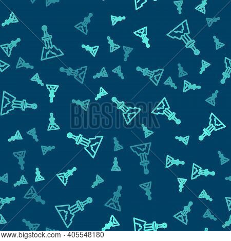 Green Line Sword In The Stone Icon Isolated Seamless Pattern On Blue Background. Excalibur The Sword