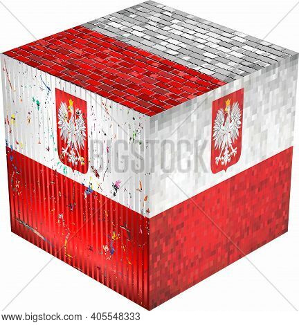 Poland Cube - Illustration,  Abstract Grunge Mosaic Flag Of Poland