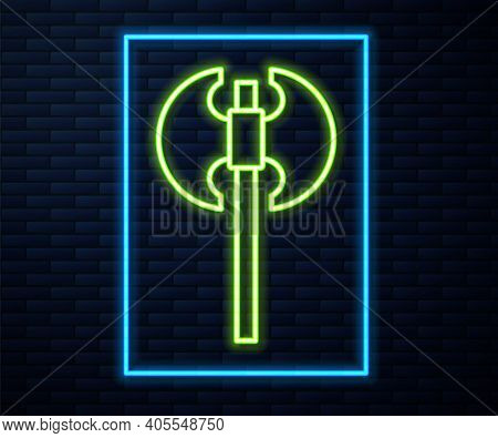 Glowing Neon Line Medieval Axe Icon Isolated On Brick Wall Background. Battle Axe, Executioner Axe.
