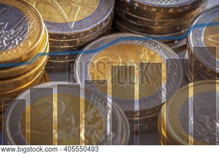Euro Coins In Stacks With History Chart And Bar Graph. Presentation For Investments With Yield. For