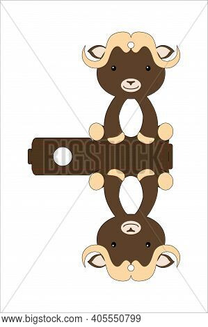 Cute Easter Egg Holder Musk Ox Template. Retail Paper Box For The Easter Egg. Printable Color Scheme