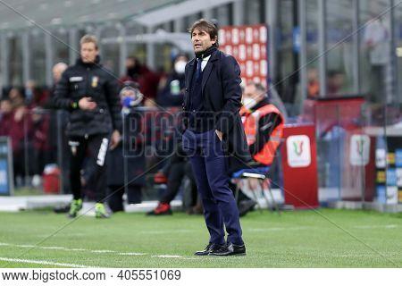 Milano, Italy. 26th January 2021 . Antonio Conte, Head Coach Of Fc Internazionale  During The Coppa