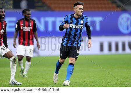 Milano, Italy. 26th January 2021 . Lautaro Martinez Of Fc Internazionale  During The Coppa Italia Ma
