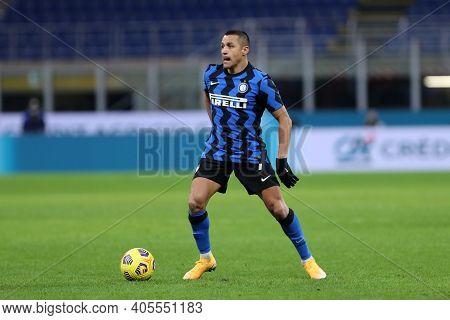 Milano, Italy. 26th January 2021 . Alexis Sanchez Of Fc Internazionale  During The Coppa Italia Matc