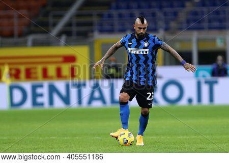 Milano, Italy. 26th January 2021 . Arturo Vidal Of Fc Internazionale  During The Coppa Italia Match