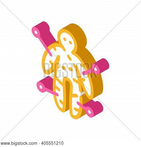 Voodoo Doll Isometric Icon Vector Illustration Color