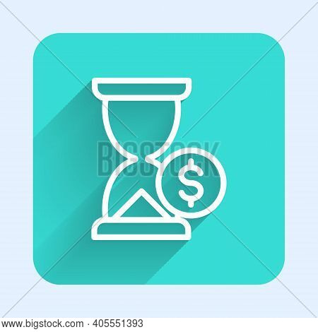 White Line Hourglass With Dollar Icon Isolated With Long Shadow. Money Time. Sandglass And Money. Gr