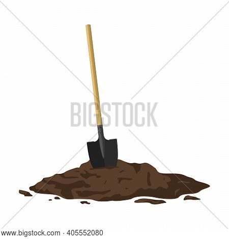 Shovel In A Pile Of Soil Isolated On White Background. Work Tool For Outdoor Activities, Digging, Ga