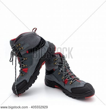 Men's Trekking Boots In Nubuck And Synthetic Mesh. Gray With Black And Red Decorative Trim. Molded G