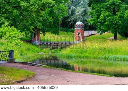Red (turkish) Cascade With Two Turrets In The Catherine Park In Tsarskoye Selo, Pushkin, Russia