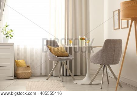 Modern Living Room Interior With Beautiful Curtains On Window