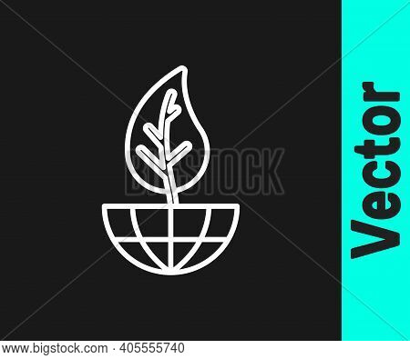 White Line Earth Globe And Leaf Icon Isolated On Black Background. World Or Earth Sign. Geometric Sh