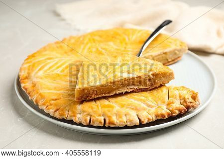 Traditional Galette Des Rois On Light Grey Marble Table, Closeup
