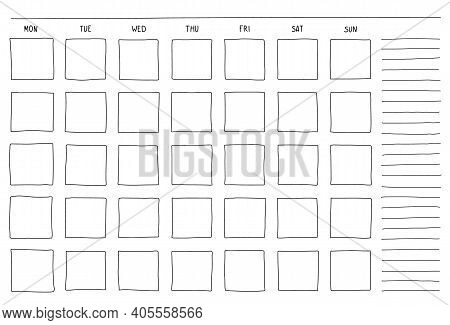 Template Blank Month Planning With Place For Notes. Hand Drown Sketch Doodle Vector Illustration Sim