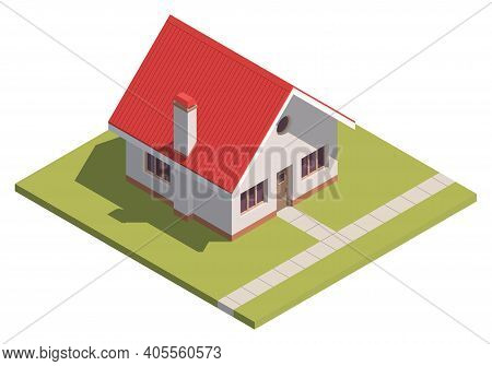 Suburban House Isometry. Hyper Detailing Isometric View Of A Isolated House With A Red Roof. 3d Fami