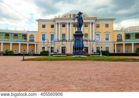 Monument To Emperor Paul The First In Front Of Pavlovsk Palace, Russia. Inscription On Pedestal: To