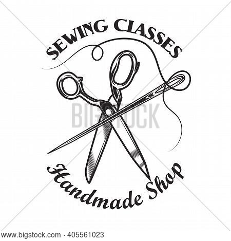 Tailoring Emblem Template With Scissors, Needle And Thread. Vector Illustrations Of Monochrome Sewin