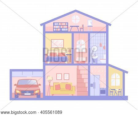 Dollhouse Toy With Two Floors And Attic - Isolated Vector Kid Illustration. Cross Section Of Paper H