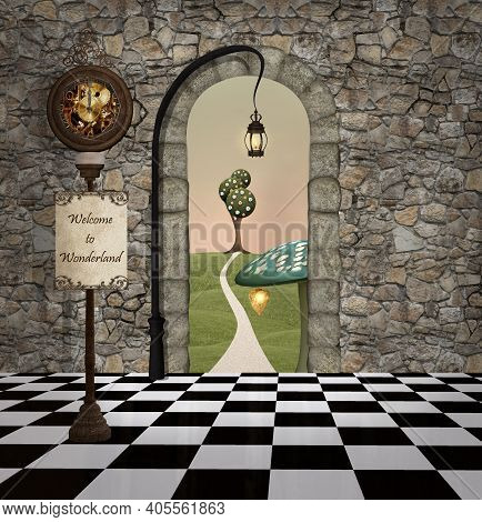 Wonderland Waiting Room With A View To The Magic Land - 3d Illustration