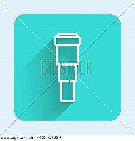 White Line Spyglass Telescope Lens Icon Isolated With Long Shadow. Sailor Spyglass. Green Square But